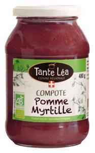 Compote bio Tante Léa Pomme Myrtille